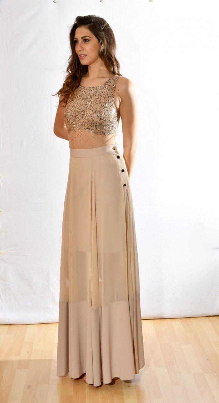 Μπεζ ψηλόμεση φούστα