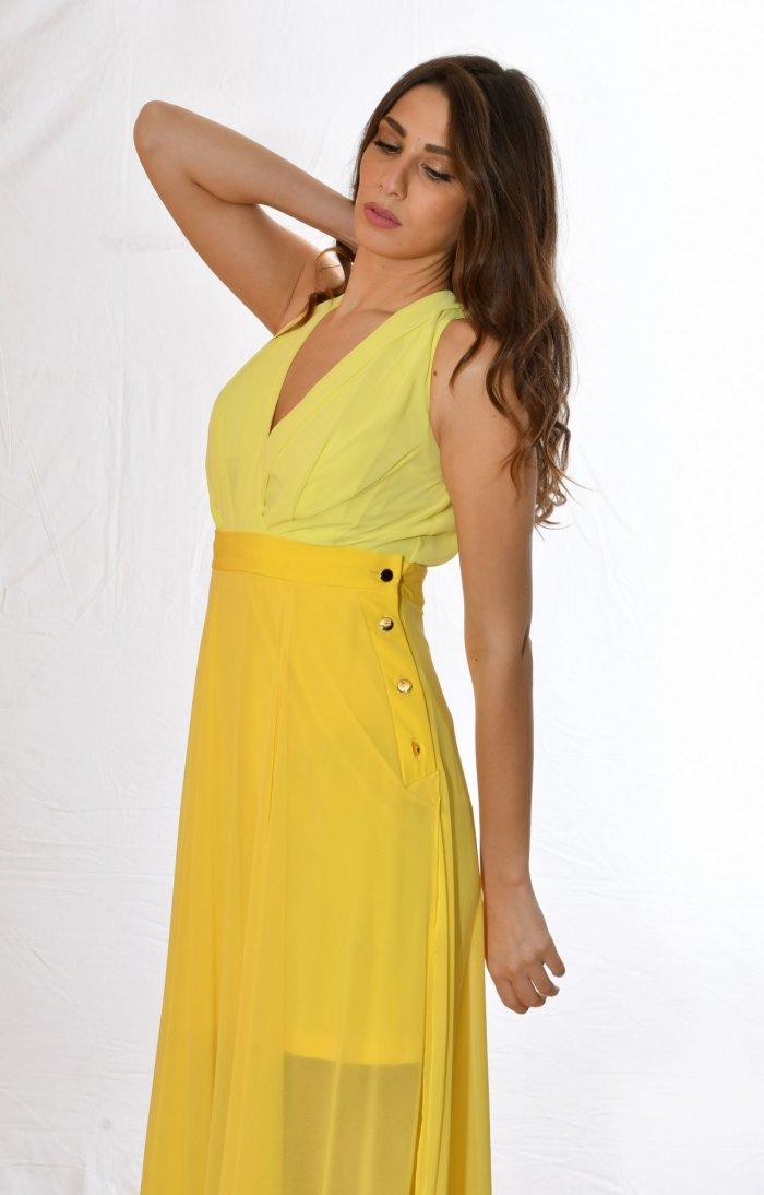κίτρινη μπλούζα Body, με V και φούστα ψηλόμεση