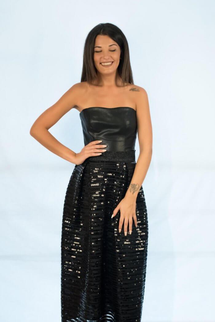 Βραδυνή ψηλόμεση μίντι μαύρη φούστα με παγιέτες