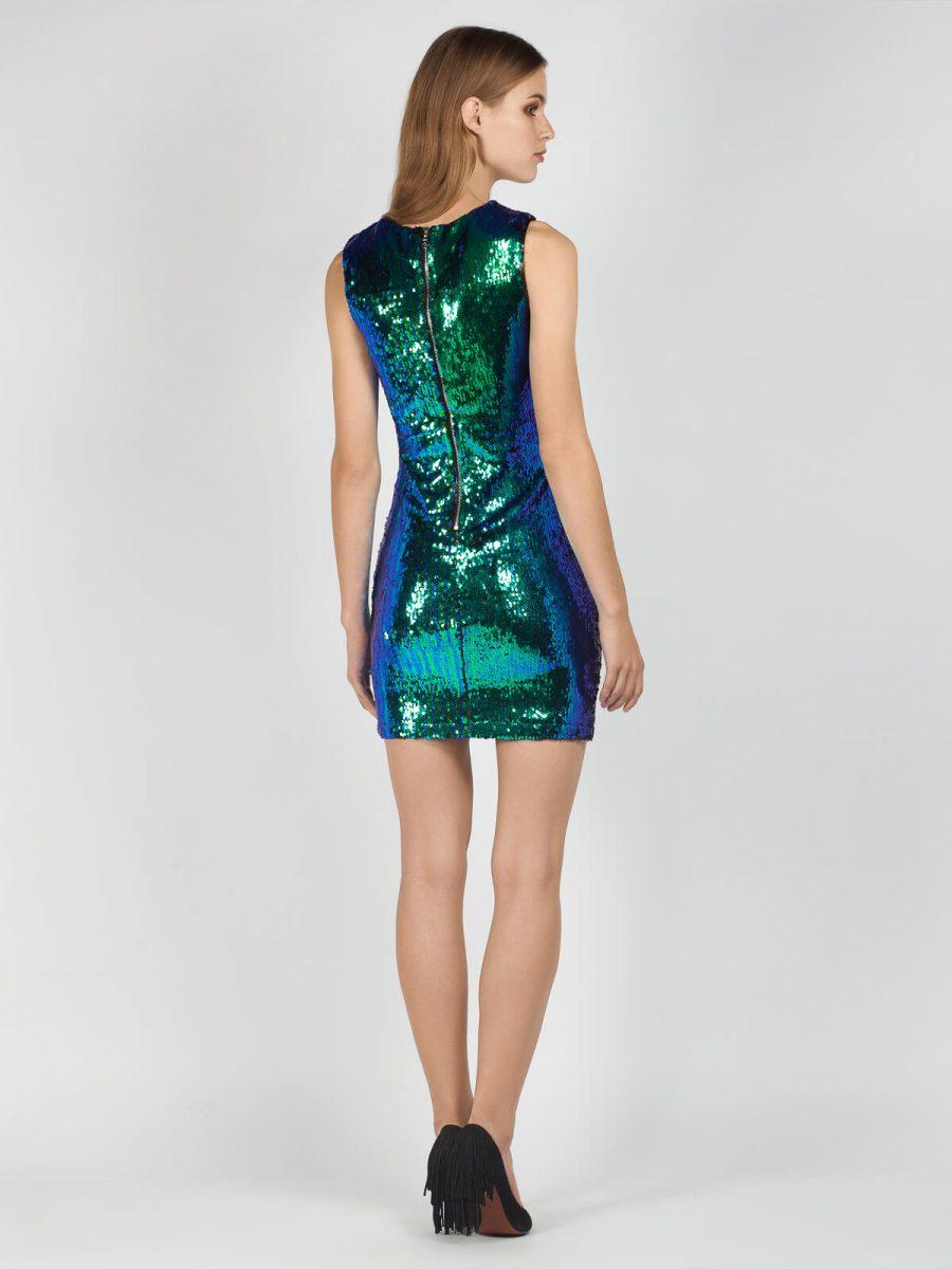 Φόρεμα μίνι βραδινό με παγιέτες, χωρίς μανίκια με λαιμόκοψη σε αποχρώσεις του πράσινου και του μώβ.