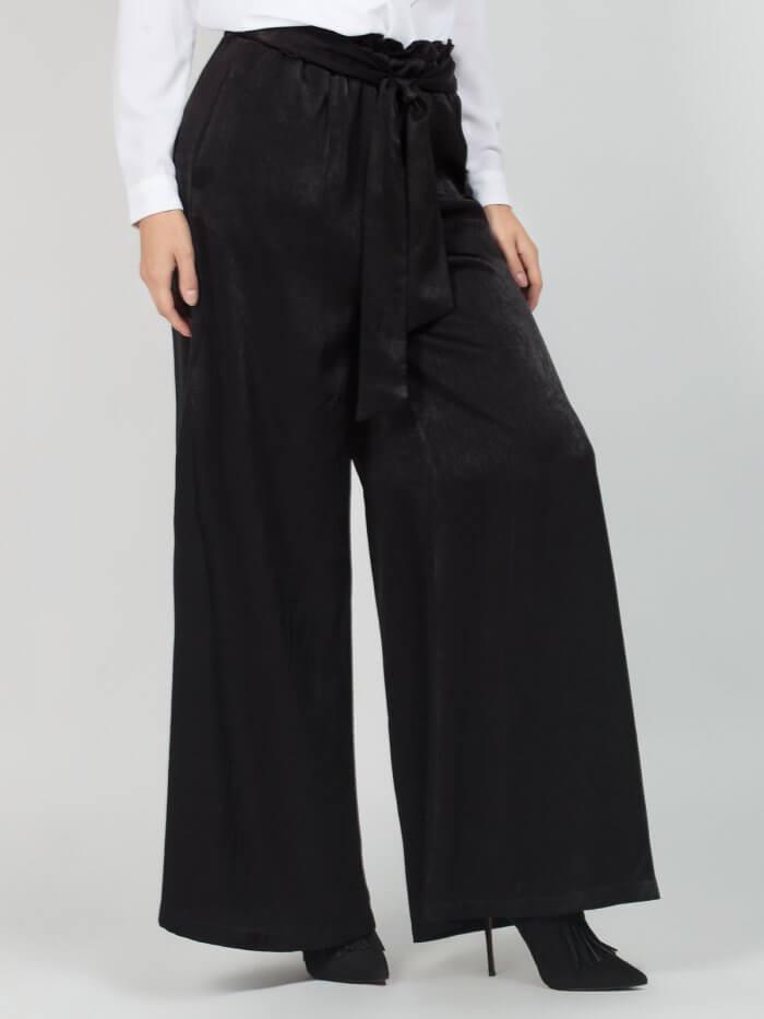 Παντελόνα Βραδινή αέρινη, σε μαύρο χρώμα