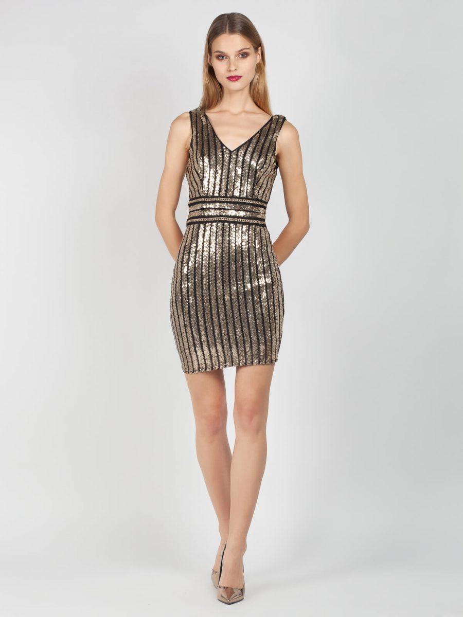 Φόρεμα μίνι βραδινό σε αποχρώσεις και χρυσό μαύρο από παγιέτες με άνοιγμα V στο ντεκολτέ και στην πλάτη.