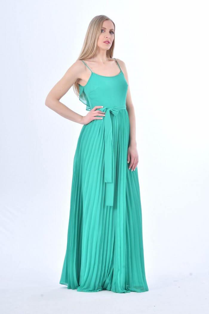 Ολόσωμη φόρμα σε πράσινο χρώμα με πλισέ αέρινα πλούσια μπατζάκια και άνοιγμα στην πλάτη