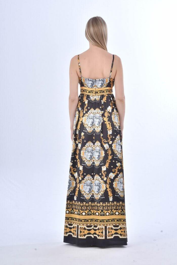 Μάξι αέρινο φόρεμα σε χρυσές και ασπρόμαυρες