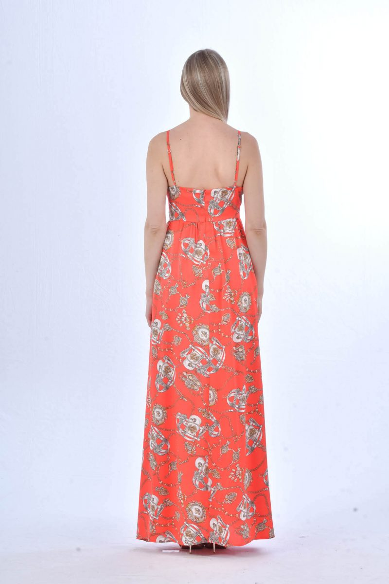 Μάξι κοραλλί αέρινο φόρεμα.
